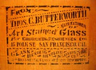 Stained glass shipping crate from Thomas C. Butterworth of San Francisco, California.