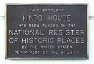 Hinds House National Register of Historic Places Plaque, Santa Cruz, California